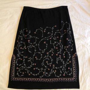 BCBG MAXAZRIA Black Floral Skirt